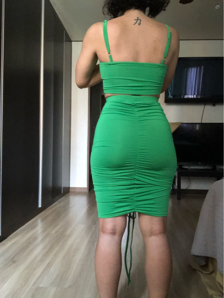 Two Piece Sexy Pleated Party Dress Women Spaghetti Strap Backless Slinny Pencil Christmas Dress Casual Dress Vestidos photo review