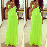 Women Casual Party Long Dress Lace Stitching Candy Neon Color Plain Maxi Dress Elegant Strappy Evening