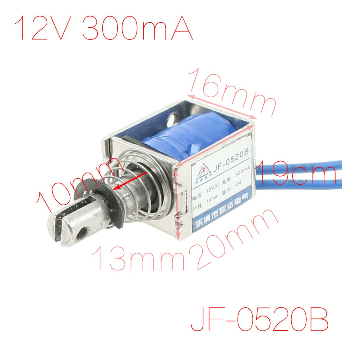 UXCELL 12V 300Ma Push Pull Type Open Frame Solenoid Electromagnet 10Mm 4N 0.9Lb built-in mounting board DC electronmagnet DIY цена