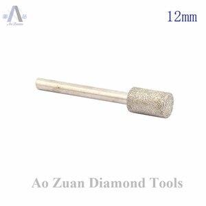 Image 2 - 12 40 ミリメートルグリット 80 ラフダイヤモンドコーティングシリンダーヘッド研削ビットロータリーツールバリポイント宝石細工用の彫刻ツールのための石の作業