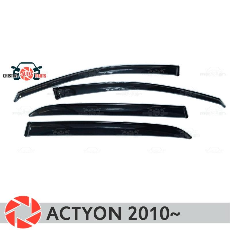 Okno deflektor dla ssangyong Actyon 2010 ~ deszcz deflektor brud ochrony dekoracja samochodu akcesoria odlewnictwo