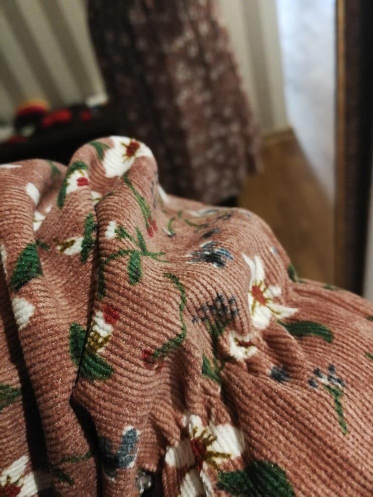 Corduroy Soft Floral Print Women Autumn Winter Dress Stand Collar Female Party Loose Dresses Elastic Waist Beach Vestidos photo review
