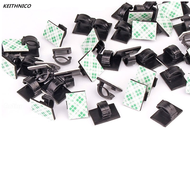 KEITHNICO 50pcs Multifunctional Tie Fixer Adhesive Car Cable Clip Cable Winder Drop Wire Holder Organizer Desk Wall Cord Clam