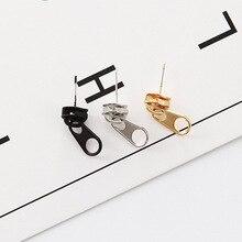 Punk Rock Zipper Earrings Tools Stud Stainless Steel Tragus Cartilage Ear Piercing Women Men Body Jewelry