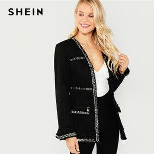 Image 2 - SHEIN noir élégant Highstreet ouvert avant effiloché bord solide mode veste 2018 automne bureau dame femmes manteau et vêtements dextérieur