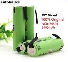 4PCS Liitokala new original NCR18650B 3.7V 3400mAh 18650 rechargeable lithium battery for Panasonic battery + DIY nickel piece