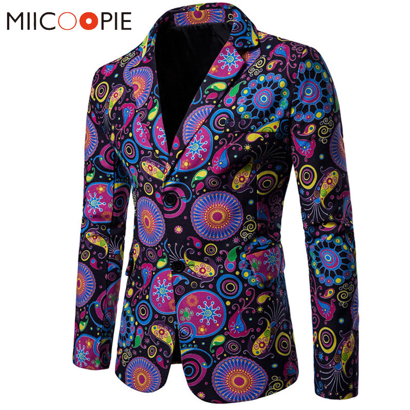New Arrival Business Mens Blaser Masculino Cotton Linen Nationality Printed Jacket Popular Purple Blazers Men Suits Jackets