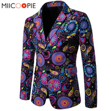 New Arrival Business Mens Blaser Masculino Cotton Linen Nationality Printed Jacket Popular Purple