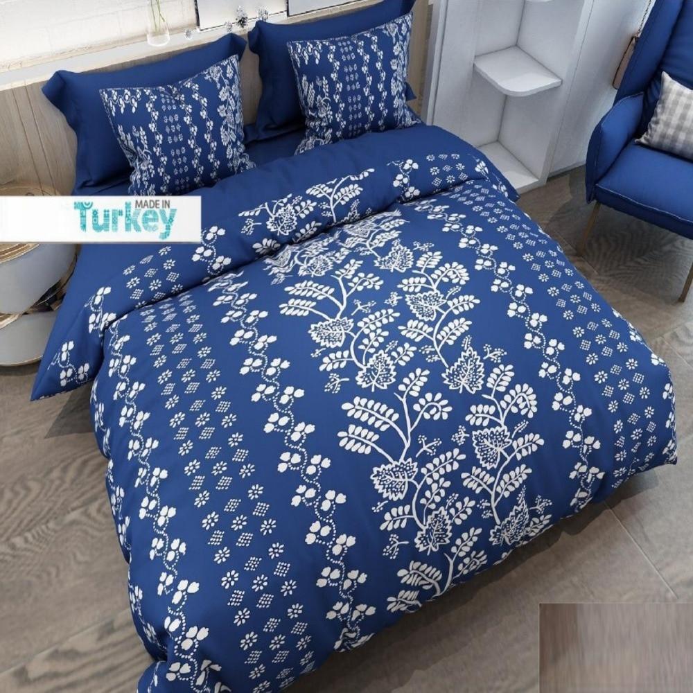 Else 6 Piece Blue White Vintage Ethnic Flower 3D Pattern Print Cotton Satin Double Duvet Cover Bedding Set Pillow Case Bed Sheet