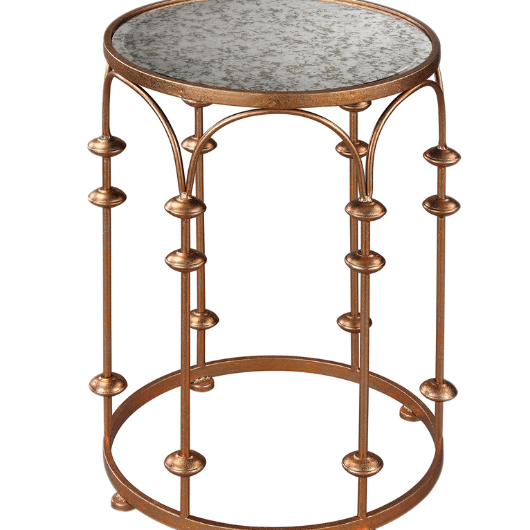 Sterling Copper Arch Accent Table Antique Mirror