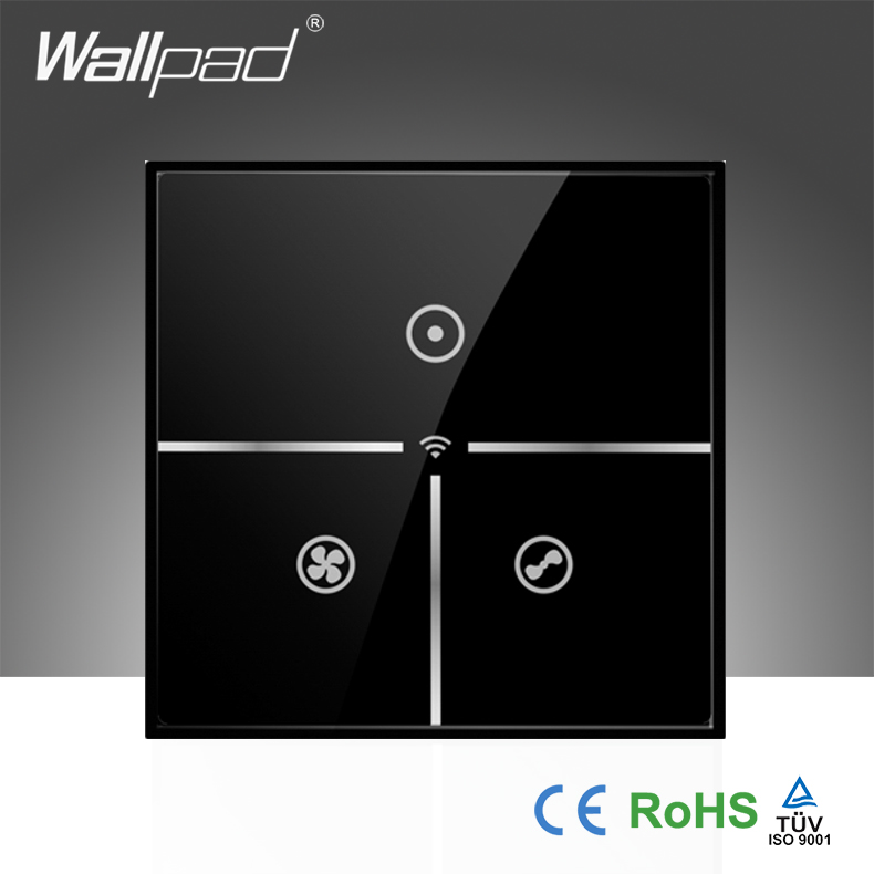 Hot Sales Wallpad Black Glass UK 110~250V Wifi Remote 3 Speed Rotary Fan Control WIFI Electrical Touch Fan Switch, Free Shipping 2016year very hot sale rotary switch for pedestal fan 3 position rotary switch fan speed controller switch high quality switch
