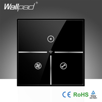 Hot Sales Wallpad Black Glass UK 110~250V Wifi Remote 3 Speed Rotary Fan Control WIFI Electrical Touch Fan Switch, Free Shipping