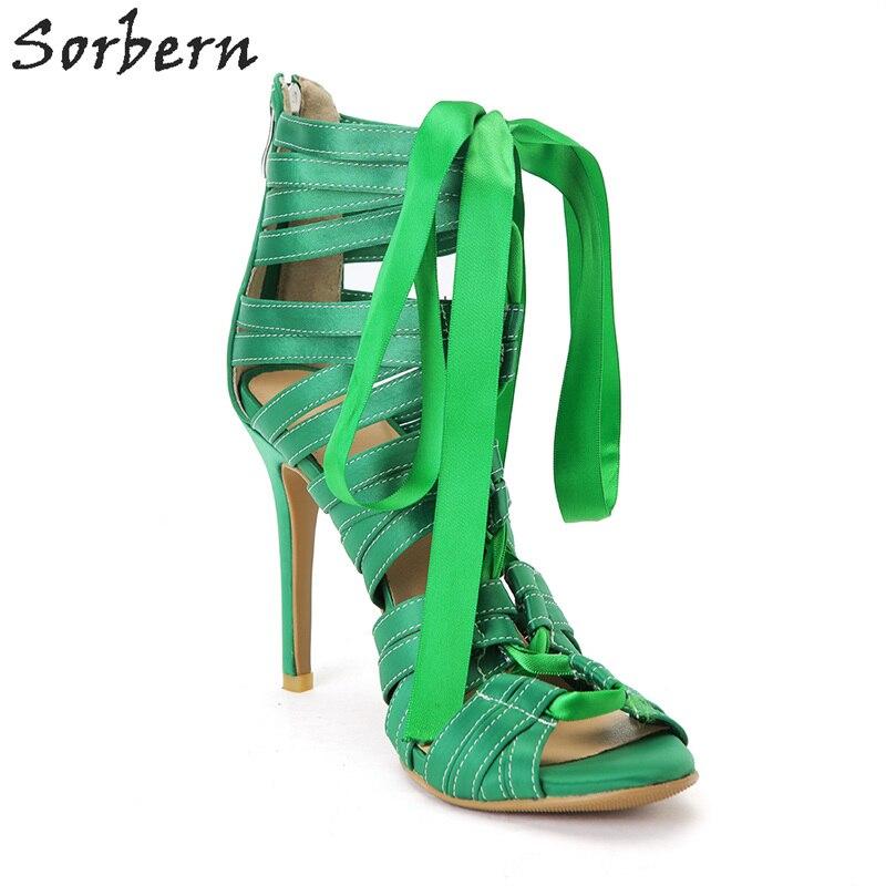 La Luxe Chaussures De custom Femmes Spike Color Style Vert Taille Vert Mujer Talons 2018 Plus Sandalias Sandales Sorbern D'été EI2eHYD9Wb