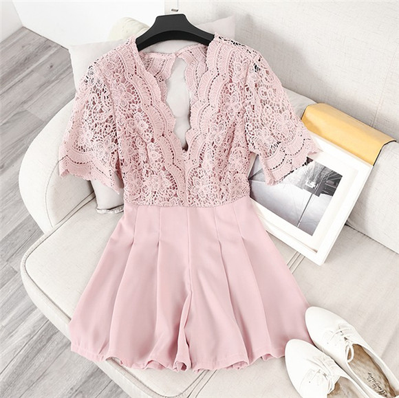 Elegant Jumpsuit Plus Size Jumpsuits And Rompers For Women Free Shipping 2018europe The Lace Stitching V Collar jumpsuit