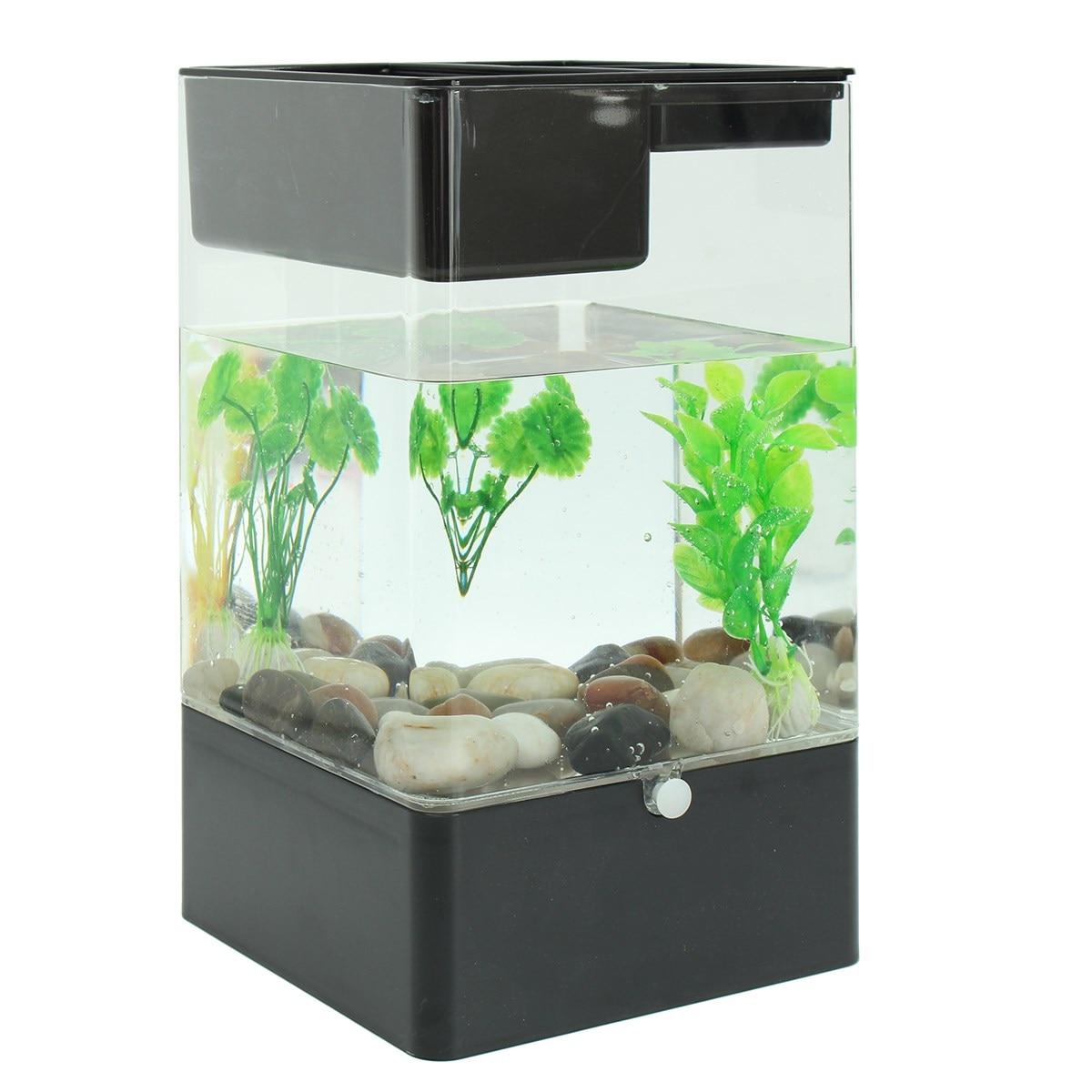 Fish aquarium price in pakistan - Ecological Fish Tank Square Usb Interface Aquarium Integration Office Desk Goldfish Filter Led Light System 14 4