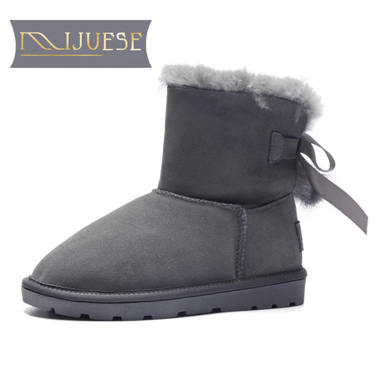 MLJUESE 2019 women ankle boots Fur slip on pink color winter wool blend tassel snow boots women flat boots size 34-40 lapel flap pocket color block wool blend blazer
