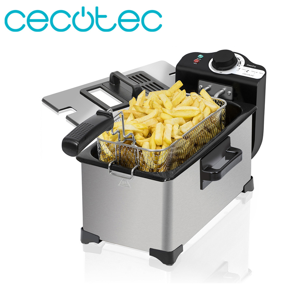 Cecotec CleanFry 3L Electric Fryer 3 Liters Stainless Steel 2000W With OilClean Filter, Cap With Anti-Odor Filter And Window