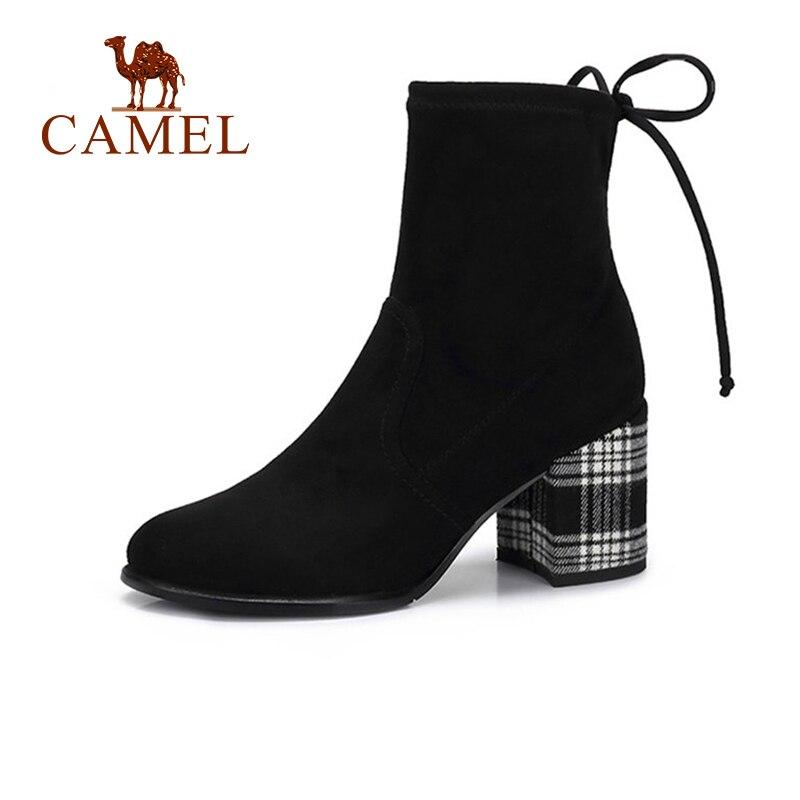 CAMEL Women Short Boots 2018 Winter High Heel Elegant Boots Shoes Women Thick Heel British Striped