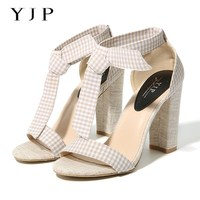 YJP Women Canvas High Heels Sandals Beige Plaid Ankle Strap Chunky Heel Fashion Shoes Summer Casual