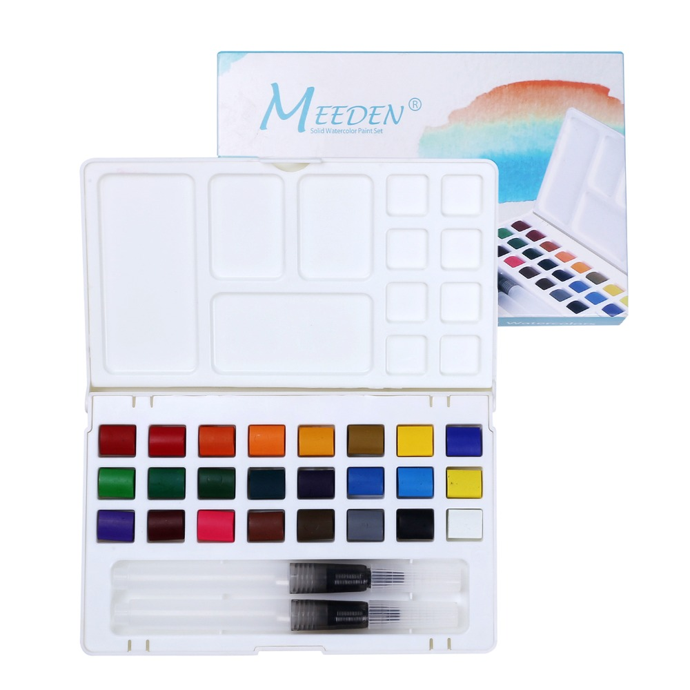 где купить MEEDEN Artists Travel Watercolor Paint Set Field Sketch Watercolor Kit - 24 Colors with 2 Water Brushes and A Mixing Palette дешево