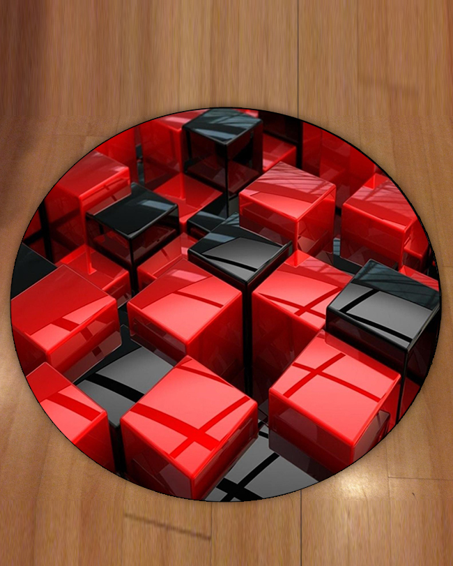 Else Red Black Boxes Cubes Abstract Geometric 3d Print Anti Slip Back Round Carpets Area Rug For Living Rooms Bathroom