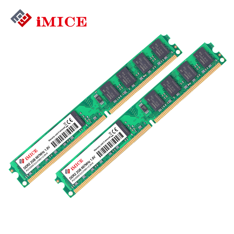 IMICE PC Desktop Ram DDR2 4 GB (2 GB x 2 pz) RAM 667 MHz PC2-Pin 1.8 V DIMM Per Garanzia di Memoria Del Computer Compatibile