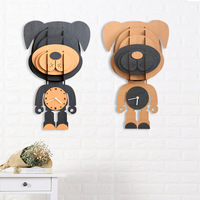 DIY Decorative Home Deco Wall Clock Large Wooden Digital Wall Clock 3D Modern Creative Animal Cartoon Rabbit Dog Cat Bear Design