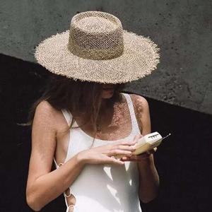Image 5 - Шляпа Женская плетеная с широкими полями, Соломенная Панама от солнца в стиле унисекс, для походов в Кентукки и путешествий