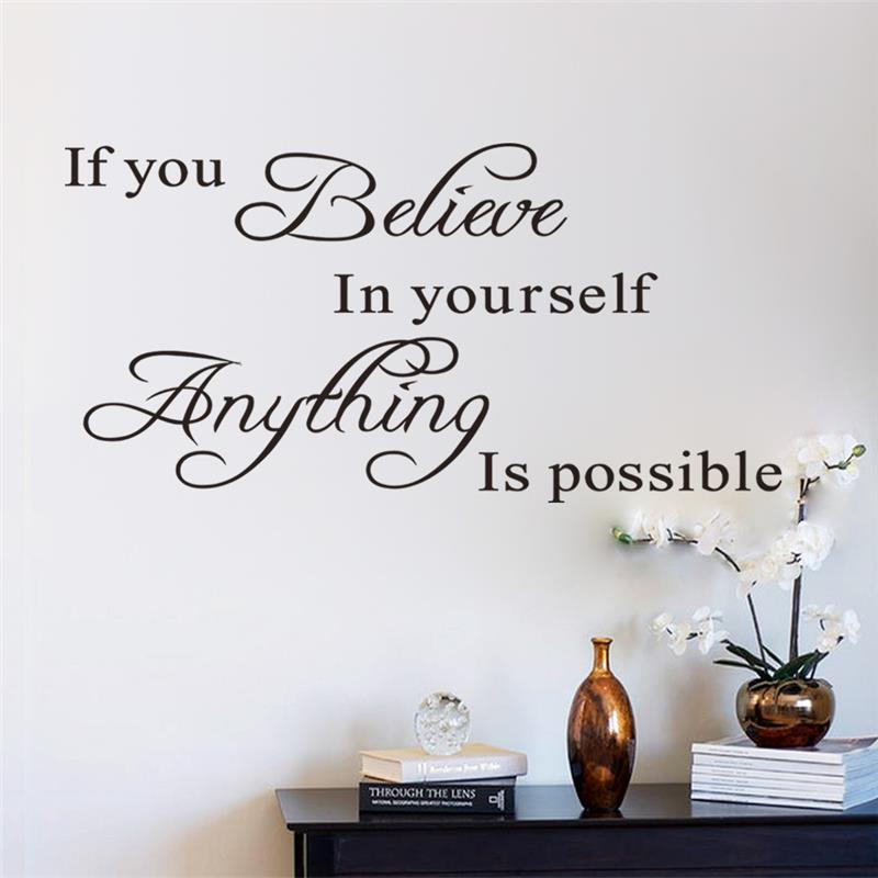 Brand New Believe Yourself Motivating Quote Maxim Decoration Inspirational  DIY Art Wall Sticker Mural Decals Home Removable In Wall Stickers From Home  ...
