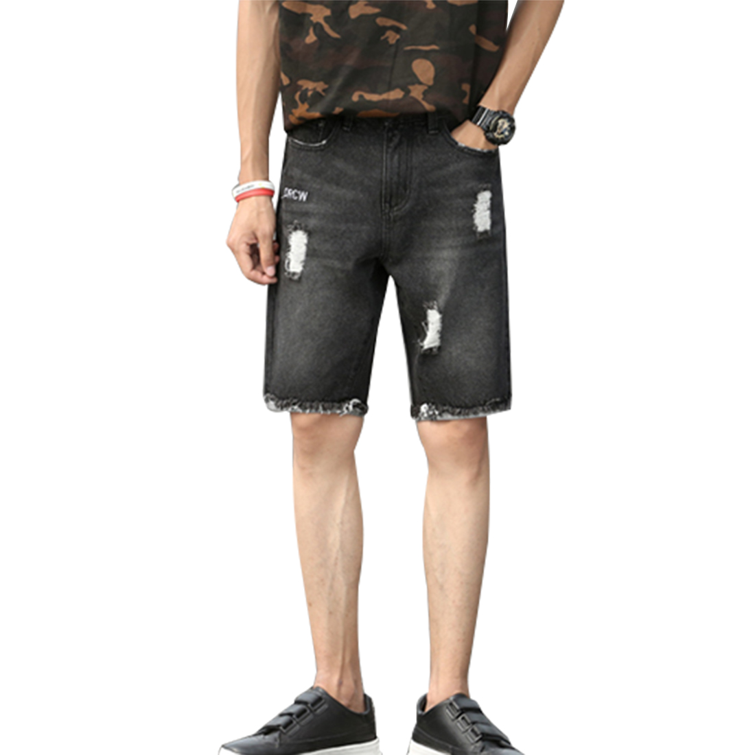NIBESSER Brand 2017 Summer Casual Hole Cuffs Short Jeans Men Denim Knee Length Slim Thin Shorts Drawstring Male Clothes New explosion of 2016 summer book kinds of men s denim shorts elastic hole loose straight slim pants breathable male five