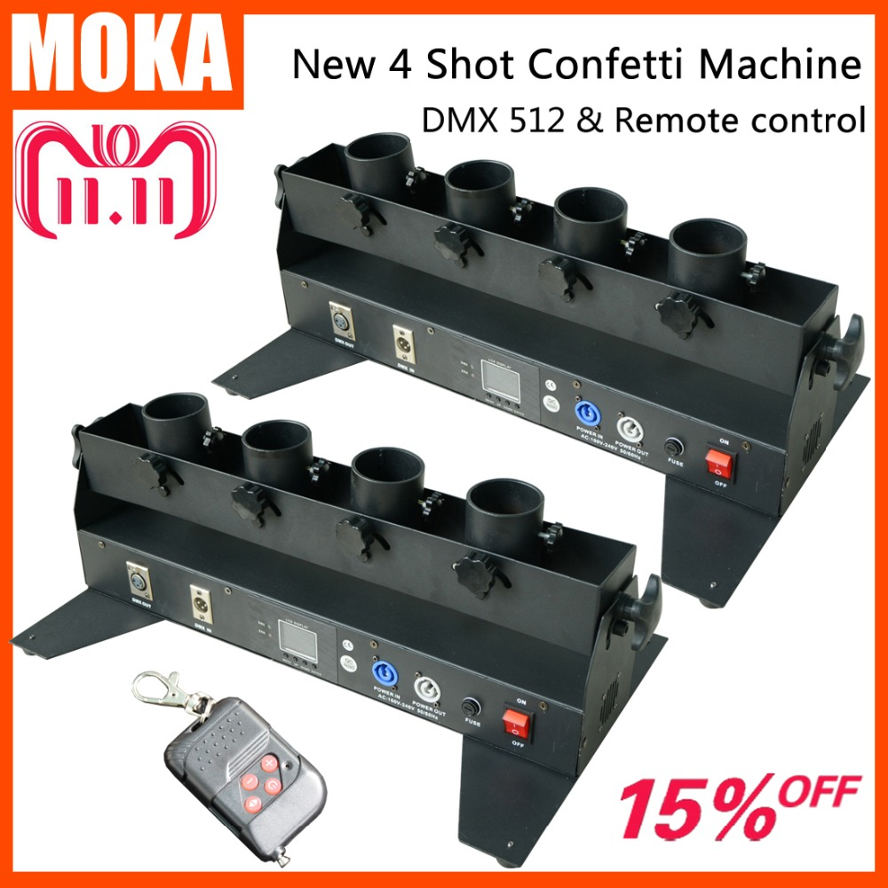 2 Pcs/lot Factory Directly Sale 4 head dmx confetti machine stage confetti shooter 6 Channels for party/wedding/theater стоимость