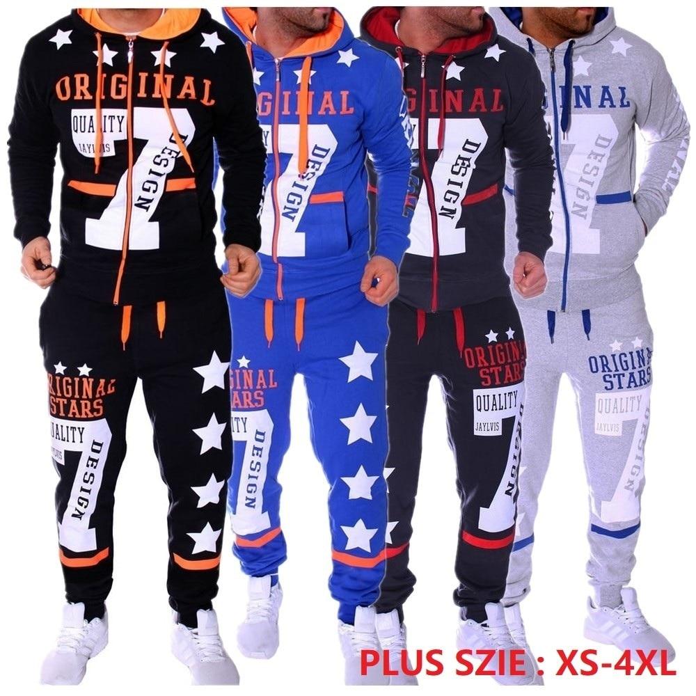 2018 New Men' Fashion 2 Parts Hooded Sweatshirt And Sport Pants Set Mens Track Suit Set 2018 2 Piece Sportswear Jogging Set