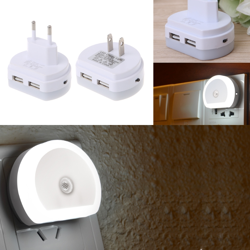 LED Charge Night Light With Dual USB Wall Charger Plug Dusk To Dawn Sensor Wall Lamp