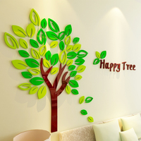 Creative DIY Happy Tree Acrylic 3D wall stickers living room bedroom Kids room decorations background Wall Sticker Home Decor