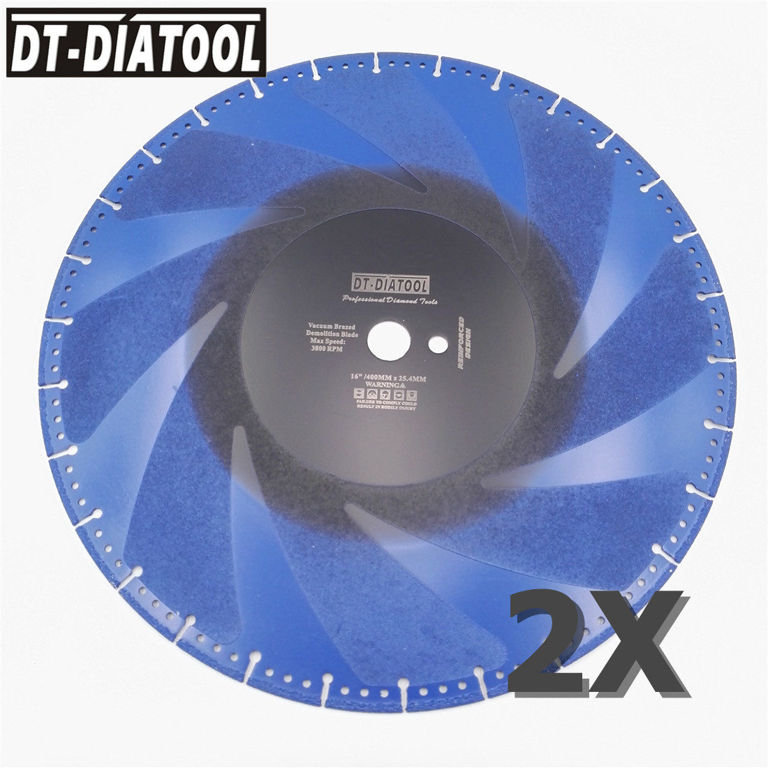 DT DIATOOL 2pcs 16 Vacuum Brazed Diamond Cutting Discs 400MM Rescue Demolition Saw Blade Steel Pipe Stone Reinforced Concrete