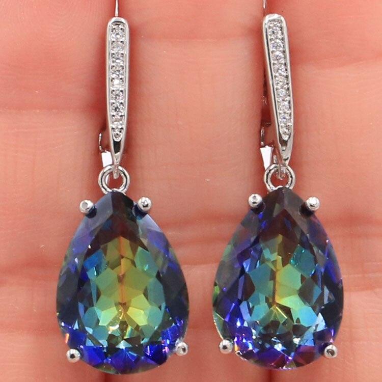 Fancy Water Drop Shape 18x13mm Fire Rainbow Mystic Topaz White CZ Gift For Girls Silver Earrings 35x13mm