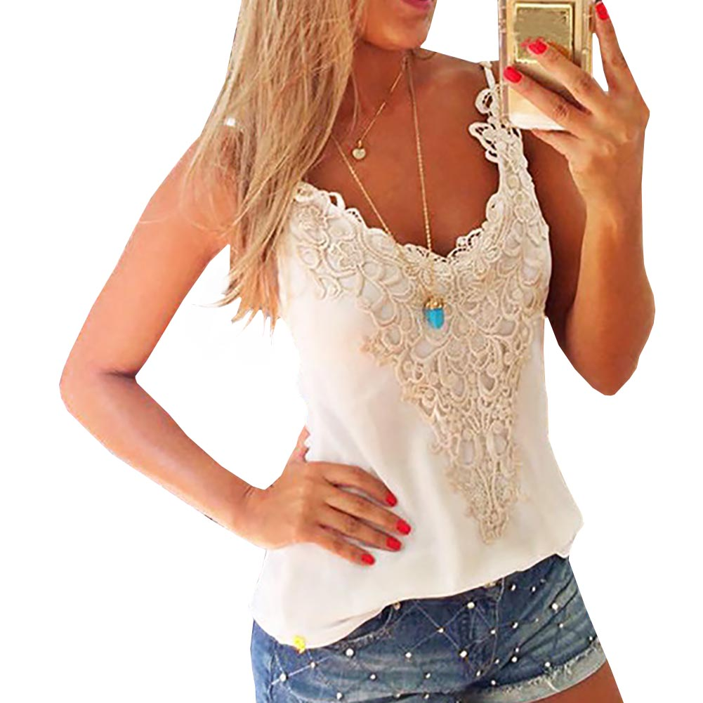 IFashion  UFashion Women's Fashion Summer Sexy Strap Lace Stitching Harness  T-shirt Tank Tops Vest New Arrival Fast Ship