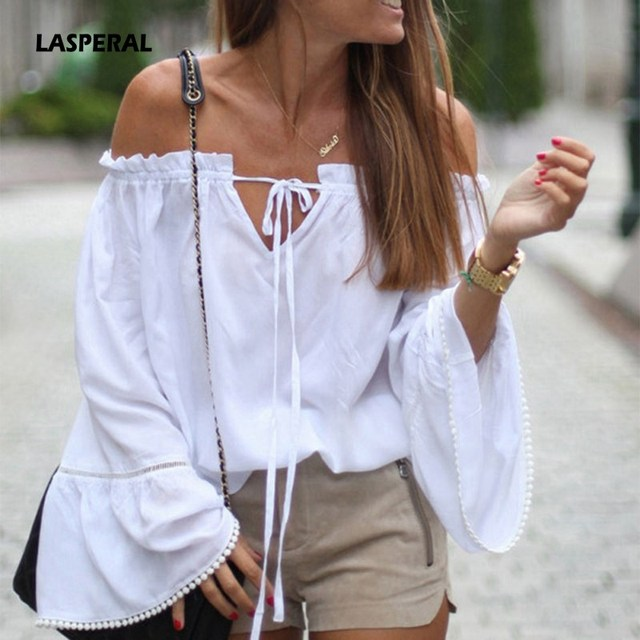 Lasperal Hot Sale Sexy Off Shoulder White Blouse Women Tops Hollow
