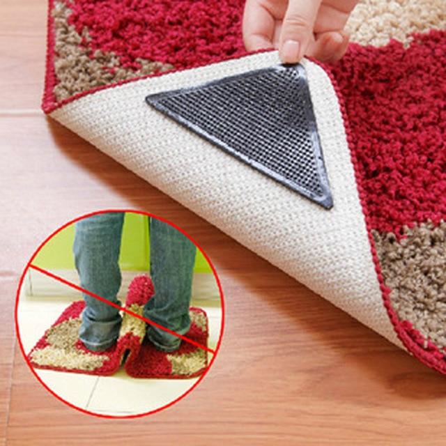 4pcs/8pcs Black Triangle PU Anti slip Rug Grips Mats For Doormat ...