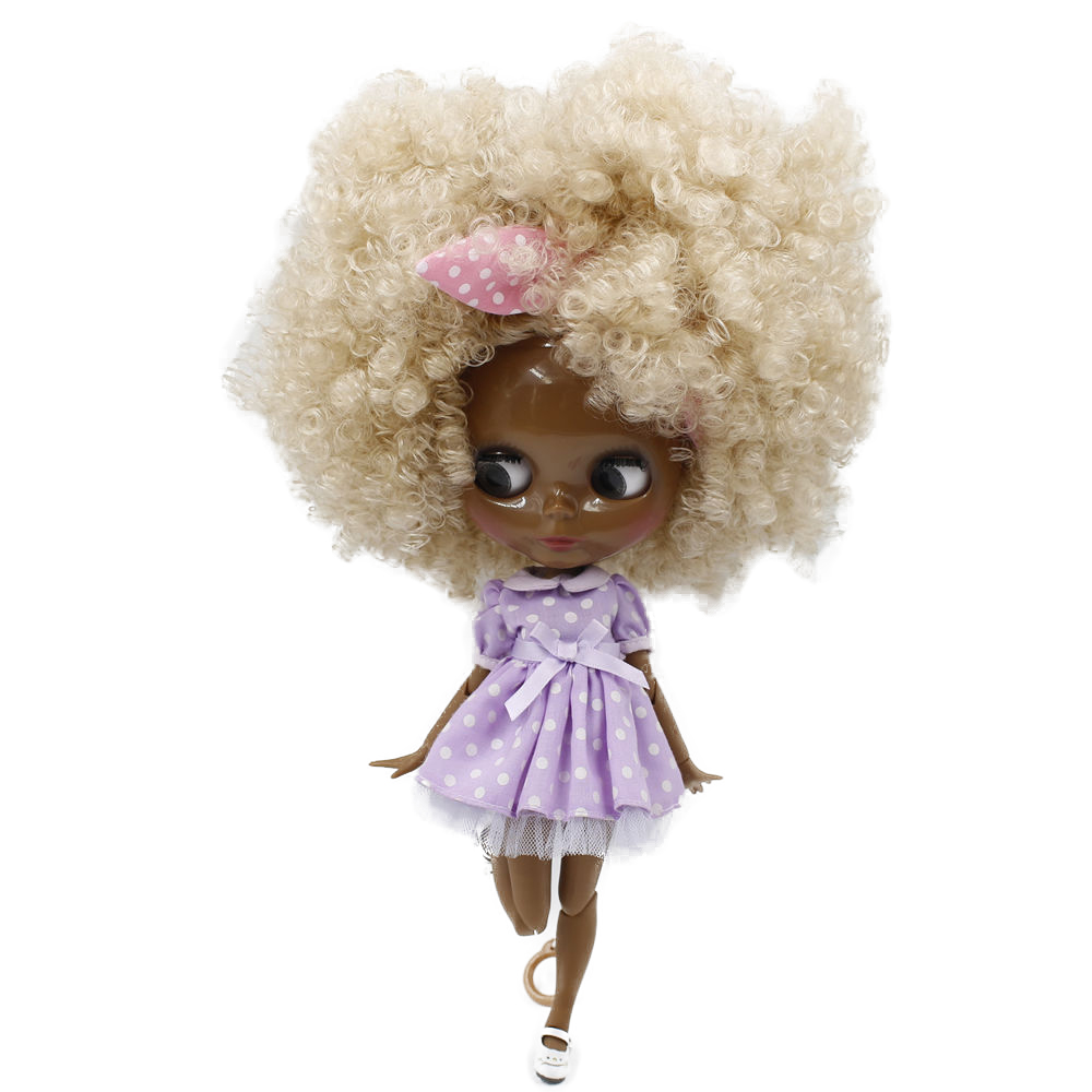 """Fashion Doll 12/"""" Blythe Nude ICY Joint Body Black Afro Hair Tan Skin Glossy Face"""