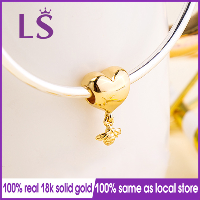 LS 100% Real Gold Heart & Bee Pendant Dangle Charm Fit Original Bracelets Pulseira Pingente 100% Same Original.Jewlery Gifts.