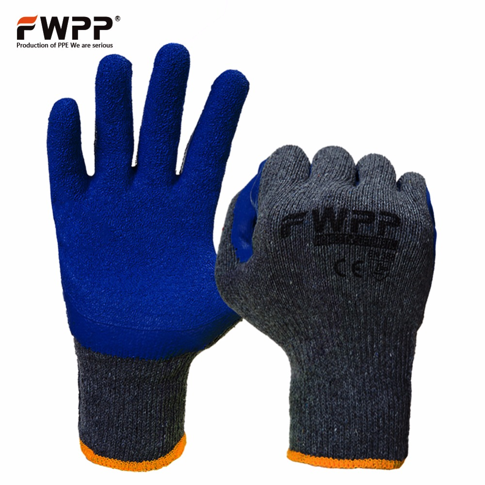 FWPP 12 Pairs Knit Work Gloves Textured Rubber Latex Coated Work Gloves Auto Repair Work Gloves Cotton Yarn Blue  Grey  M L XL disposable gloves blue latex gloves check protective work gloves labor insurance rubber gloves free shipping