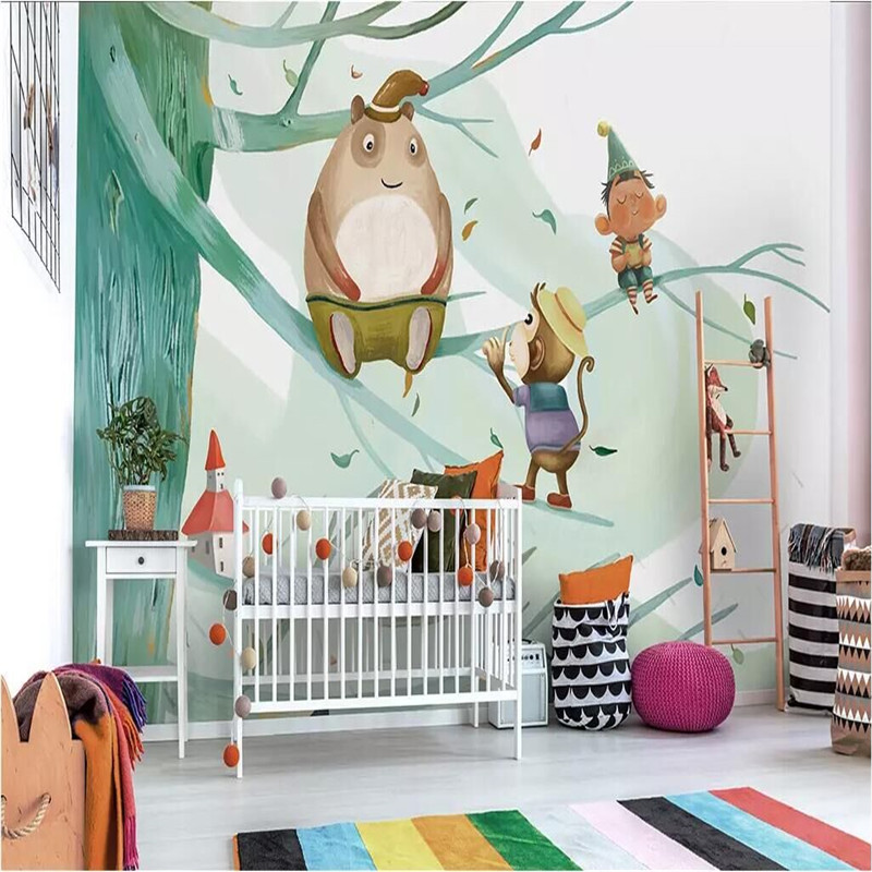 Modern minimalist hand painted cute children 39 s room background wall cloth manufacturers wholesale wallpaper mural photo wall in Fabric amp Textile Wallcoverings from Home Improvement