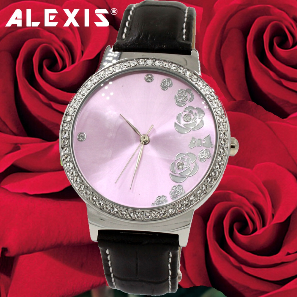 Alexis Silver us $15.75 10% off|alexis silver crystal watchcase rose dial 30m tested  water resistant crystal geunine leather fashion watch|women's watches| -