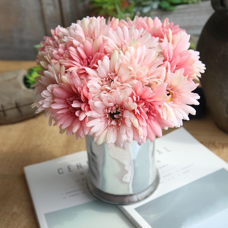one bouquent Colorful African <font><b>Daisy</b></font> home Garden Flower or Balcony Indoor office potted <font><b>plants</b></font> beautiful artificial flower decor image