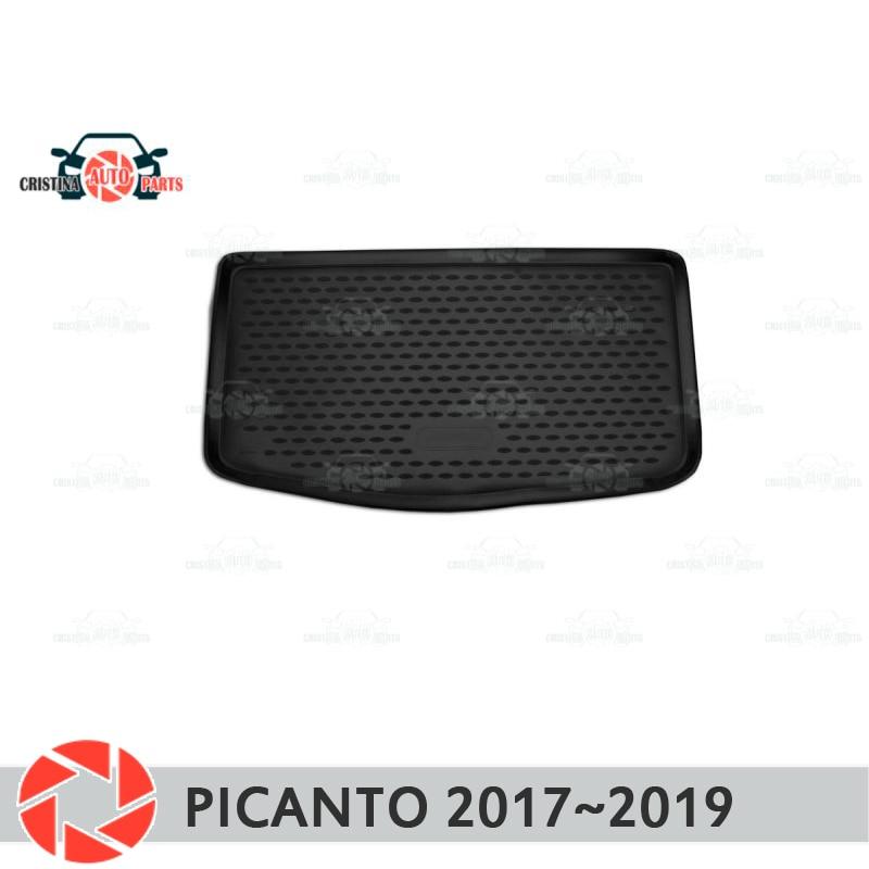 Mat tronco para Kia Picanto 2017 ~ 2019 maletero alfombras de piso antideslizante poliuretano tierra Protección interior del maletero del coche de estilo