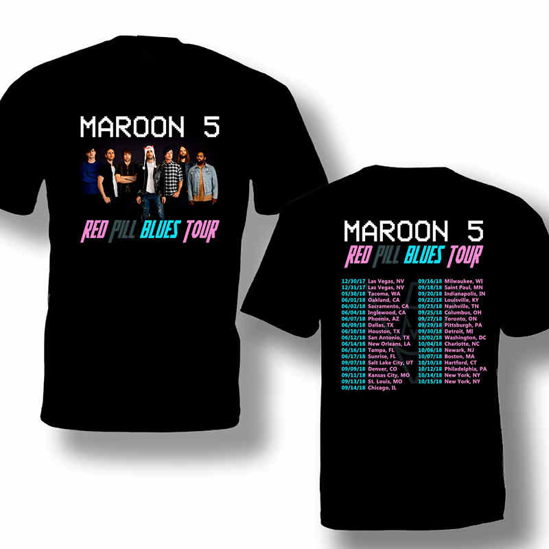 2018 New T Shirts Print Maroon 5 Crew Neck Short-Sleeve Mens Tee