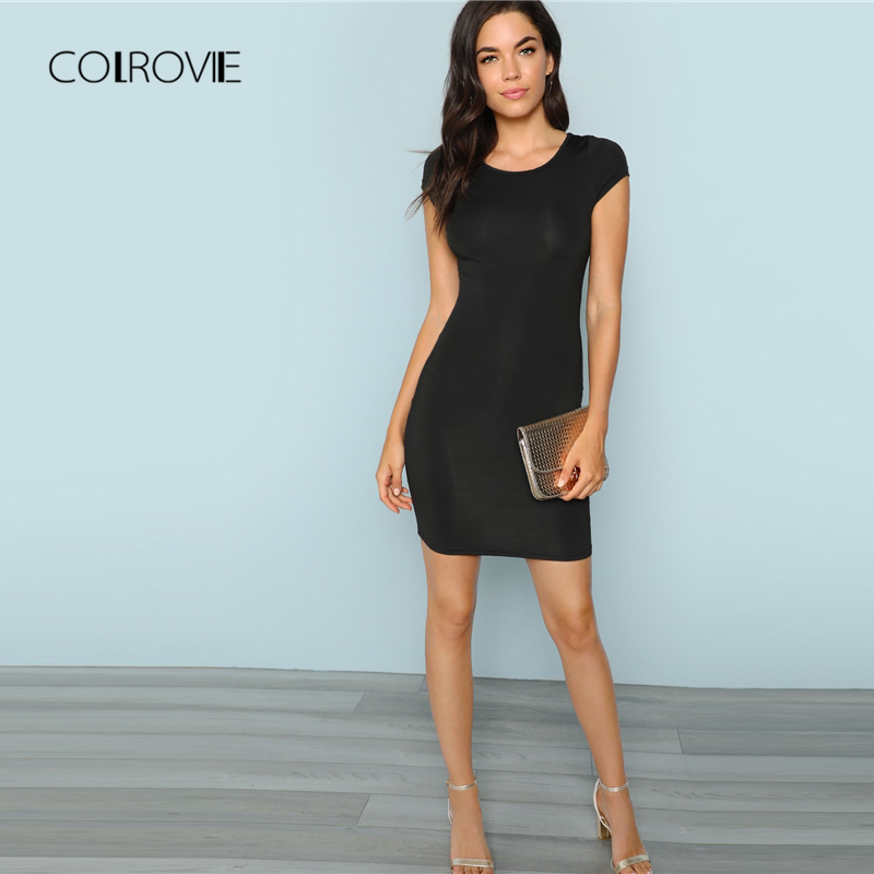 COLROVIE Black Solid Cap Sleeve <font><b>Sexy</b></font> Dress Women <font><b>2018</b></font> Autumn Stretchy Slim <font><b>Party</b></font> Dress Girl Elegant Bodycon Evening Mini Dress image
