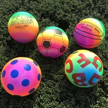 New Colored Rainbow Inflated Ball Balloons Football Toy For Kid Children Swimming Pool Outdoor Play Water