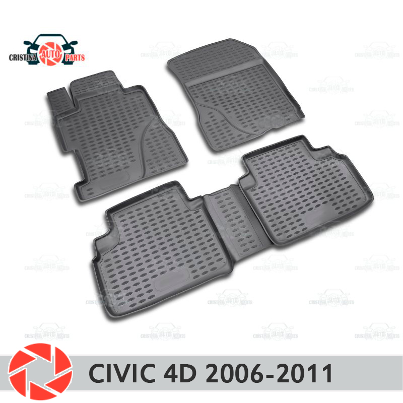 Floor mats for Honda Civic 4D 2006-2011 rugs non slip polyurethane dirt protection interior car styling accessories radiator grille case for honda civic 4d 2006 2008 2010 abs plastic tuning decor design sports styles car styling car accessories
